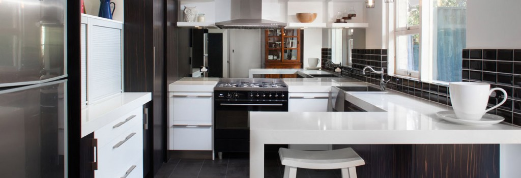 Nice white kitchen cabinets, designed and supplied by Eco Cabinets